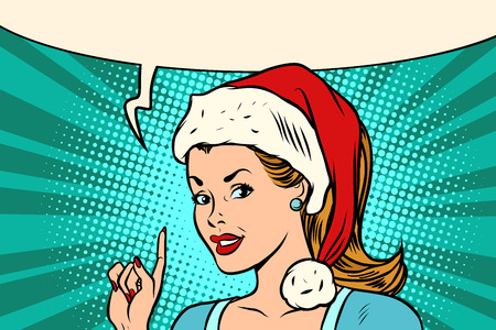Santa woman pointing finger vector illustration.