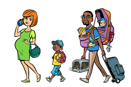 Multi-ethnic family travelers vector illustration.