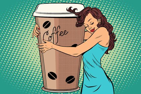 A woman hugs coffee cup vector illustration.