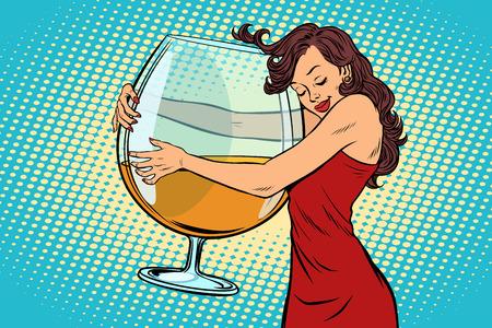 Una donna che abbraccia un bicchiere di illustrazione vettoriale di vino. Vettoriali