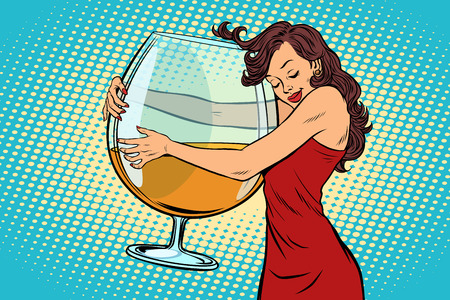 A woman hugging a glass of wine vector illustration.