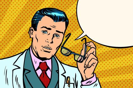 Illustrazione di vettore del medico sorpreso dell'uomo. Vettoriali