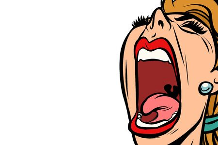 A woman screaming vector illustration.