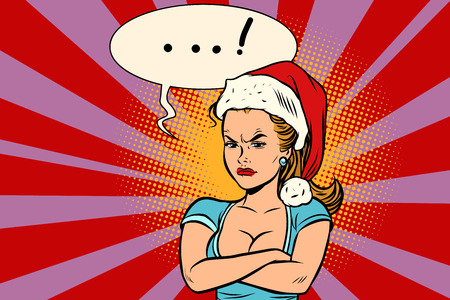 Angry Santa girl vector illustration.