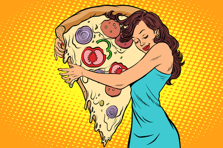 Woman hugging a pizza vector illustration.