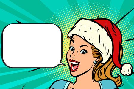 Positive Santa girl vector illustration.