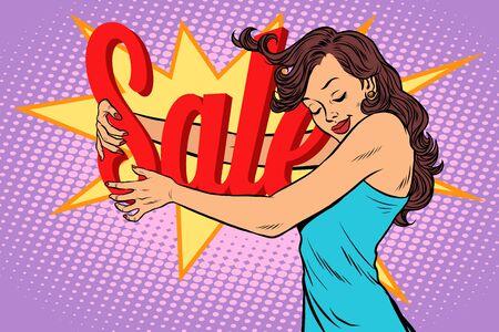 Woman hugging sale vector illustration.