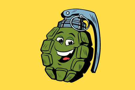grenade cute smiley face character 스톡 콘텐츠