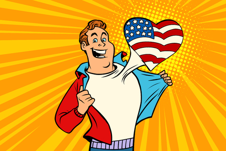 sports fan loves USA. Heart with flag of the country. Comic cartoon style pop art illustration vector retro