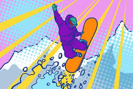 snowboarder jumping, winter sports, active lifestyle. Comic cartoon style pop art illustration vector retro 免版税图像 - 89706867