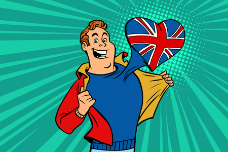 sports fan loves UK. Heart with flag of the country. Comic cartoon style pop art illustration vector retro
