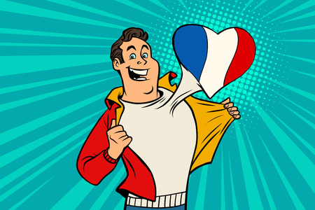 sports fan loves France. Heart with flag of the country. Comic cartoon style pop art illustration vector retro Illustration