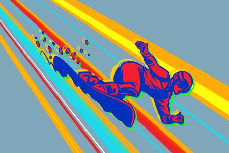 giant slalom snowboard, winter sports. Comic cartoon style pop art illustration vector retro