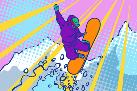 snowboarder jumping, winter sports, active lifestyle. Comic cartoon style pop art illustration vector retro