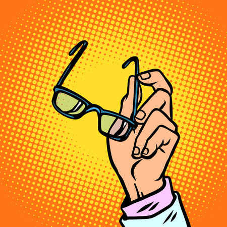 glasses in hand, vision and people. Comic book cartoon pop art retro vector illustration drawing
