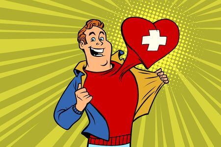 sports fan loves Switzerland. Heart with flag of the country. Comic cartoon style pop art illustration vector retro