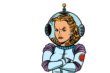 angry woman astronaut isolated on white background. Comic book cartoon pop art retro vector illustration drawing