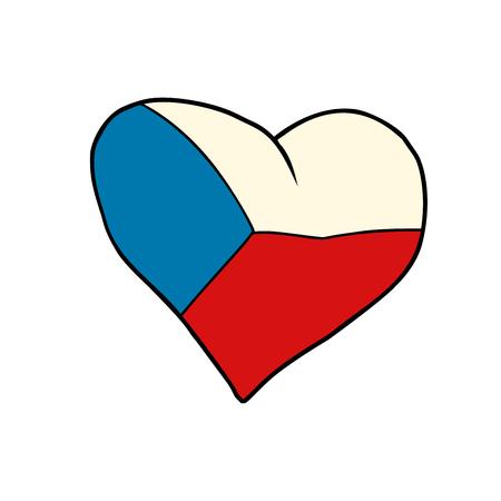 チェコのハート、愛国心漫画風ポップアートイラストベクトル