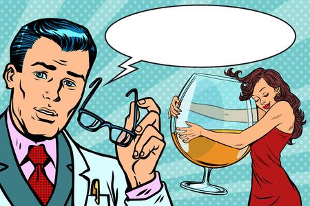 Doctor and alcoholic woman Comic book cartoon pop art retro vector illustration drawing