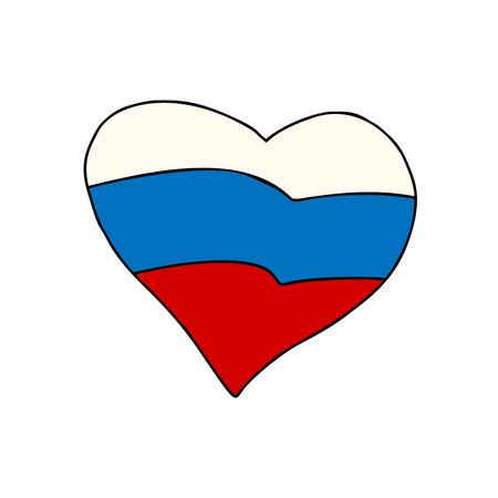 러시아 마음, 애국 기호 만화 만화 스타일 팝 아트 그림 벡터 일러스트
