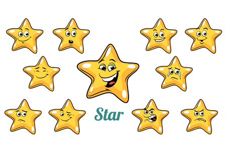 Gold star emoticons set isolated Comic book cartoon pop art illustration retro vector