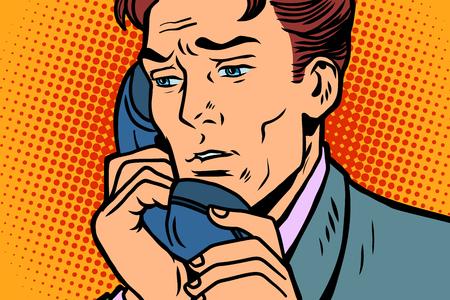 Pop art businessman talking on the phone Comic book cartoon retro Illustrator vector drawing