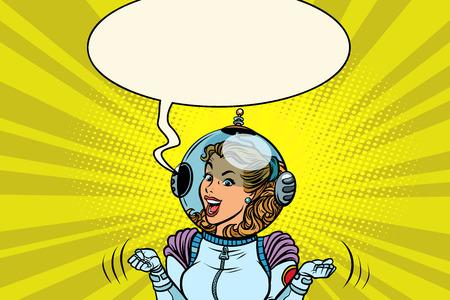 Joyful female astronaut Comic book cartoon pop art retro vector illustration drawing