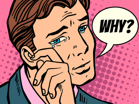 Man wiping tears.Comic book cartoon pop art retro Illustrator vector drawing