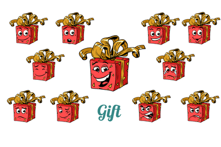 Gift box emotions emoticons set isolated on white background. Comic book cartoon pop art illustration retro vector