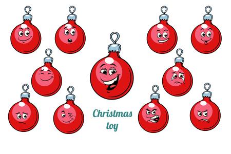Christmas ball emotions emoticons set isolated on white background. Comic book cartoon pop art illustration retro vector