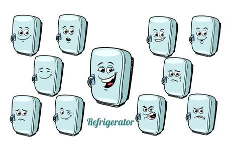 冷蔵庫感情絵文字の分離の白い背景を設定します。コミック漫画 pop アート レトロなイラスト 写真素材