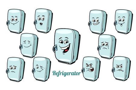 refrigerator emotions emoticons set isolated on white background. Comic book cartoon pop art illustration retro vector Reklamní fotografie