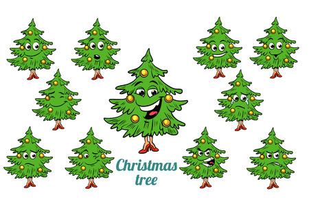 Christmas tree emotions emoticons set isolated on white background. Comic book cartoon pop art illustration retro vector Stock Photo