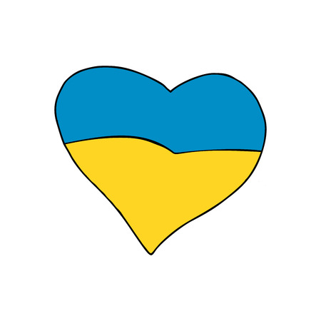 Ukraine heart, Patriotic symbol. Comic cartoon style pop art illustration vector retro