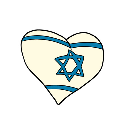 Israel heart, Patriotic symbol. Comic cartoon style pop art illustration vector retro Stock Photo
