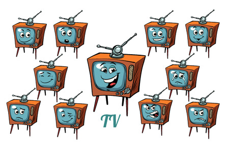 TV receiver emotions emoticons set isolated on white background. Comic book cartoon pop art illustration retro vector