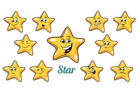 ゴールド スター感情絵文字セットは、白い背景で隔離。コミック漫画 pop アート レトロなイラスト 写真素材