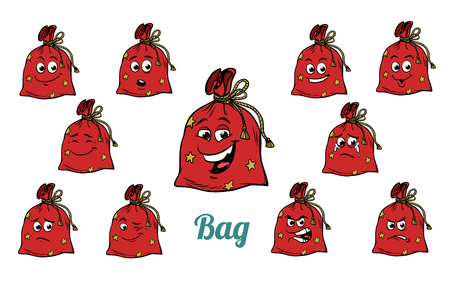 gift Christmas bag emotions emoticons set isolated on white background. Comic book cartoon pop art illustration retro vector Imagens - 90745663