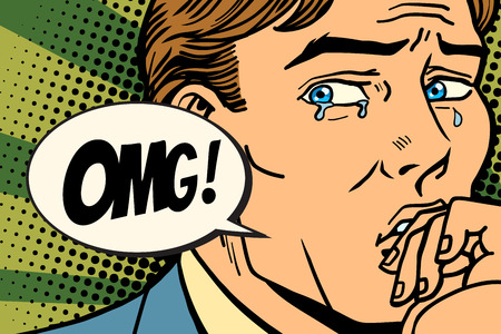 OMG の男が泣いている、気持ち悪い。コミック漫画 pop アート レトロなイラストレーター ベクトル描画 写真素材 - 90622083
