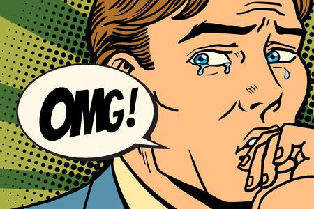 OMG man is crying, bad feelings. Comic book cartoon pop art retro Illustrator vector drawing