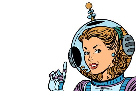 소녀 우주 비행사 흰색 배경에 고립입니다. 만화 만화 팝 아트 복고풍 벡터 일러스트 그리기