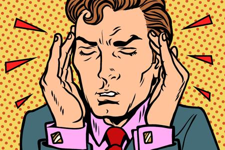 Man with severe headache. Comic book cartoon pop art retro Illustrator vector drawing
