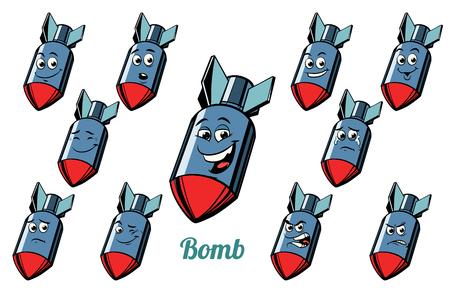 항공기 폭탄 감정 이모티콘에 격리 된 흰색 배경을 설정합니다. 만화 책 만화 팝 아트 그림 레트로 벡터 스톡 콘텐츠