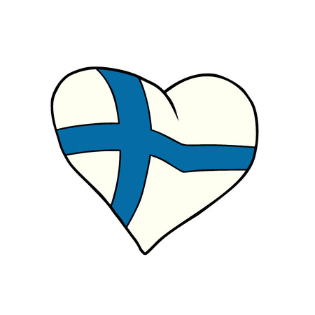 Finland heart, Patriotic symbol. Comic cartoon style pop art illustration vector retro Stok Fotoğraf