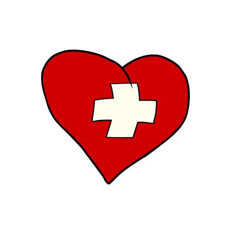 Das Schweiz-Herz, patriotisches Symbol. Komischer Karikaturart-Pop-Arten-Illustrationsvektor Retro Standard-Bild - 90774534