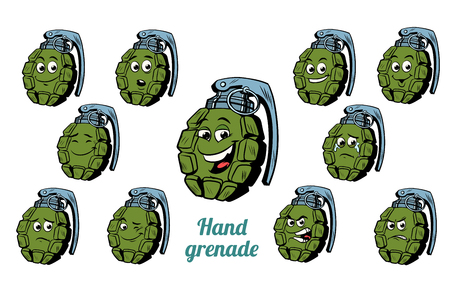 白い背景に分離された手榴弾感情絵文字セットを渡します。コミック漫画 pop アート レトロなイラスト 写真素材