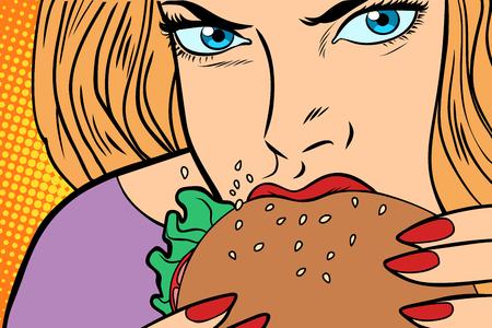 De hongerige vrouw eet Burger