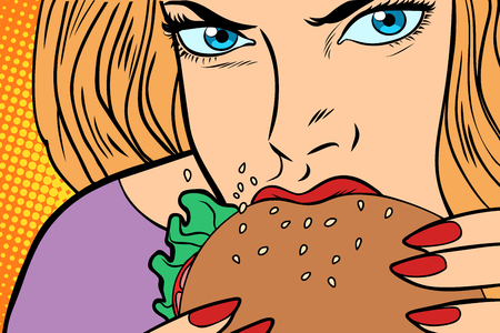 Hungry woman eats Burger Stock Vector - 91003200