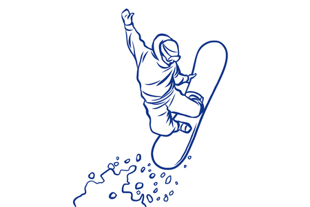 silhouette snowboarder jumping on a snowboard, winter sports 版權商用圖片 - 91001694
