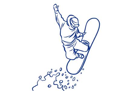 snowboardzista sylwetka skoki na snowboardzie, sporty zimowe Ilustracje wektorowe
